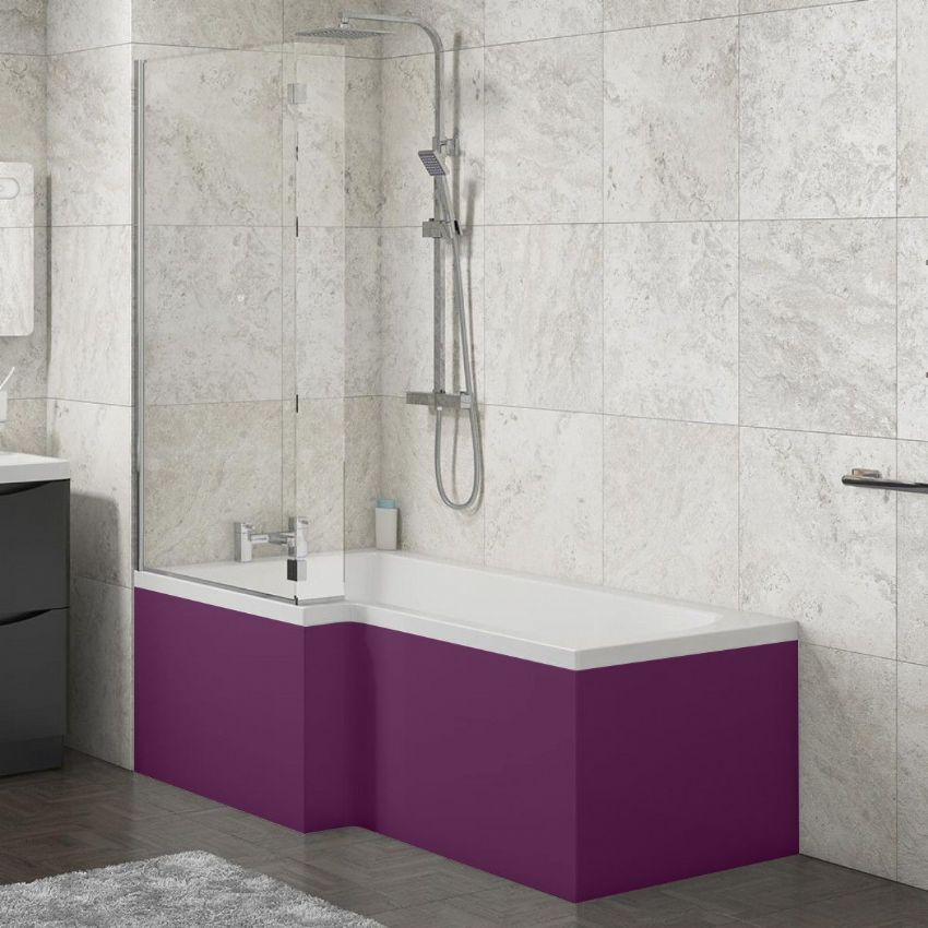 L Shape Shower Bath Panels High Gloss Aubergine